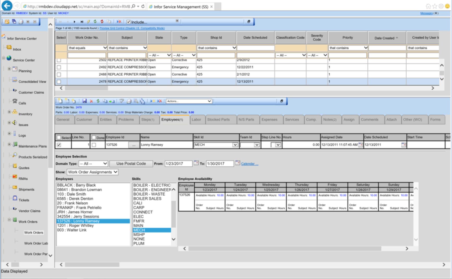 RMB Work Scheduling Screenshot